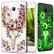 Galaxy Grand Prime Case,ikasus Ultra Thin Soft TPU Case,Art Painted Luminous Soft Silicone Rubber Case,Crystal Clear Soft Silicone Back Cover for Galaxy Grand Prime,Purple Flower Deer