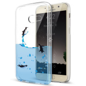 Galaxy J7 Prime Case,Galaxy J7 Prime Cover,ikasus Ultra Thin Soft TPU Case,Ultra Clear Art Panited Soft Silicone Rubber Crystal Clear Soft Silicone Back Cover for Galaxy J7 Prime,Swimming Penguins