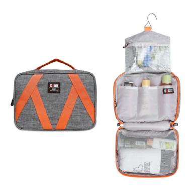 BUBM Waterproof Travel Toiletry Kit, Space Saving Wash Bag ,Cosmetic Organiser Case With Hand Strap And Hanging Hook, Grey Colour