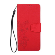 HP95(TM) Fashion Floral Slim Layered Leather Flip Folio Case Cover with Magnetic for Samsung Galaxy Note 8
