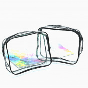 IDS 2 Pack Clear PVC Makeup Case Cosmetic Bag Toiletry Pouch for Travel and Organising