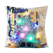 Rosiest The New Colour Lights Christmas Pillow LED Lights Pillow Creative Printing Linen