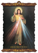 Divine Mercy Jesus Religious Scroll Plaques With Gold Accents and Wood