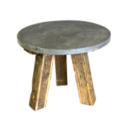 Reclaimed Wood 60cm Accent Table Slate Top | Rustic Stone Industrial
