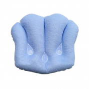Soft Inflatable Spa Neck Support Bath Pillow Bathtub Pillow for Home Travel, Light Blue