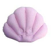 Comfortable Inflatable Bathtub Pillow Home Spa Bath Pillow Bathtub Headrest, Light Pink