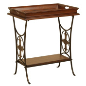 Walnut Accent Table with Removable Tray