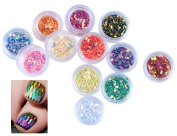 MEIQING 12 Colour Horse Eyes Sequins Nail stickers Nail Ornaments Bright Colour 3D Glitter Sequins Nail Art Flakes DIY Decoration