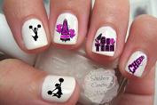 Cheer Cheerleader Cheerleading Design Pink/Black Nail Art Decals