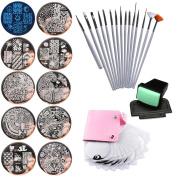 Nail Art Image Stamp Stamping Plates+ Stamper+Scraper+ Pack Bag+Nail brush