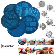 SNNplapla Round Nail Art Stamp Stamping Template Image Plates