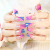 CoolNail Long Square False Nails Gradient French Fake Nail Tips Flat Top Pink Purple Blue with Colourful Glitter