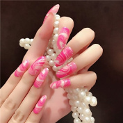 CoolNail 24pcs Candy Colour Blooming False Nails Tips Gradient Pink Hot Red Long Acrylic Artificial Fake Nail Decoration Tips