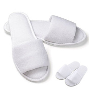 IDS 5 Pair White Non-Disposable Slippers for SPA Guest Open Toe Spa Slippers White