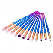 KingYuan Eye Makeup Brush Set 12pcs Powder Foundation Eye Lip Eyeliner Colrful Brush Kit Cosmetic Brush Makeup Thread