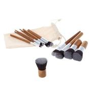 Mezerdoo 11Pcs Professional Bamboo Makeup Brushes Eyeshadow Foundation Blush Blending Make Up Brush Set+Bag Beauty Tools Pincel Maquiagem