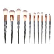 Kixing(TM) Multifunctional 10PCS Make Up Foundation Eyebrow Eyeliner Blush Cosmetic Concealer Brushes