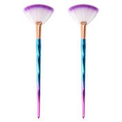 XCSOURCE 2pcs Slim Fan Makeup Brushes Diamond-shaped Handle Blending Highlighter Contour Face Powder Cheek Blush Brush MT511