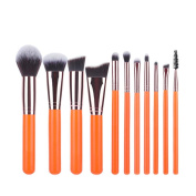 11Pcs Orange Professional Makeup Brush Sets Brushes Soft Synthetic Hair Make up Tools Kit Cosmetic Beauty Mingcf Makeup Brushes