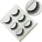 FOND Black Long Thick False Magnetic Eyelashes Natural 3D Eye Lashes Cross Fashion Extension for Makeup 3 Pairs