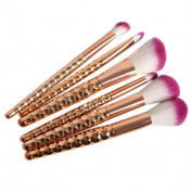 Pro Makeup Brushes Set Gold Foundation Blending Powder Eyeshadow Contour Concealer Blush Cosmetic Beauty Make Up Kits Mingcf 6PCS
