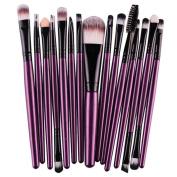 Cuekondy 15PCS Kabuki Makeup Brush Set - Foundation Powder Blush Concealer Contour Brushes - Perfect For Liquid, Cream or Mineral Products