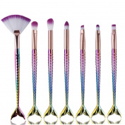 Kixing(TM) Newest 7Pc Mermaid Foundation Eyeshadow Contour Eye Lip Makeup Brushes Set B