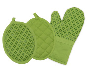 Sticky Toffee Printed Silicone Oven Mitt and Pot Holders, 100% Cotton, 3 Piece Set, Green