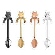 4 PCS Cute Cat Coffee Spoon, Stainless Steel Cat Mug Demitasse for Stirring Tea Coffee Espresso Sugar Dessert Funny Spoons