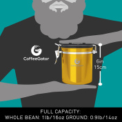 Coffee Gator Stainless Steel Container - Canister with co2 Valve, Scoop and eBook - Medium - Gold