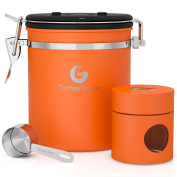 Coffee Gator Stainless Steel Container - Canister with co2 Valve, Scoop, eBook and Travel Jar - Medium, Orange