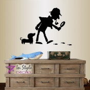 Wall Vinyl Decal Home Decor Art Sticker Detective and Dog Footprint Magnifying Glass Cartoon Kids Nursery Bedroom Room Removable Stylish Mural Unique Design 2313