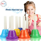 Ehome Handbell Set, 8 Note Diatonic Metal Bells, Musial Bells for Children and Toddlers, Musical Learning at an Early Age, Musical Toy Percussion Instrument.