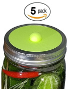 Maintenance free silicone airlock waterless fermentation lids for wide mouth mason jars. BPA free, mould free, dishwasher safe. 5 pack. Premium Presents brand.