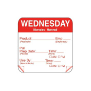 DayMark 115151-3 ToughMark 5.1cm Wednesday Use By Day Square - 500 / RL