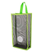 Set of 2 Wall Mount Plastic Bag Holder Grid Extractable Storage Bag, Green