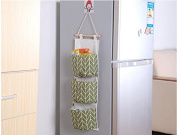 Grandey Creative Linen Cotton Waterproof Geometic Three Storage Pockets Wall Hanging Storage Bags Home Decor Wall Housekeeping