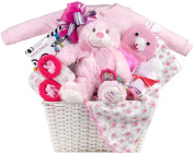 Newborn Baby Girl Gift Basket with Onesie, Blanket and Slipper Set, Plush and Toys