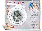 8.9cm Guardian Angel White Crib Medal Baby Gift