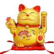 23cm Waving Lucky Fortune Cat Maneki Neko Japanese Porcelain Lucky Cat Money Box Piggy Bank