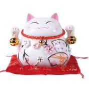 11cm Maneki Neko Japanese Porcelain Lucky Cat Money Box Piggy Bank Lucky Blessing #A
