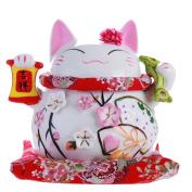 20cm Maneki Neko Japanese Porcelain Lucky Cat Money Box Piggy Bank Lucky Blessing #A