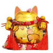 20cm Maneki Neko Japanese Porcelain Lucky Cat Money Box Piggy Bank Lucky Blessing #D