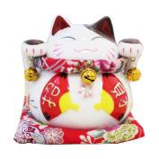 15cm Maneki Neko Japanese Porcelain Lucky Cat Money Box Piggy Bank Lucky Blessing #D
