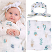 Baby Muslin Swaddle Blankets and Headband Set Baby Cotton Swaddle Wrap Stroller Cover Receiving Blanket