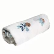 """Papa Smible Muslin Swaddle Blankets Bamboo Cotton Baby Swaddle Wrap, 47""""×120cm Larg Wrap Swaddle, lemon, flower & plant"""