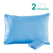 100% Cotton Sateen Toddler Pillowcases Set of 2, Soft and Cosy, 33cm x 46cm , Blue by NTBAY