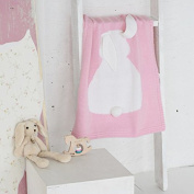 Dulcii Children's Lovely 3D Rabbit Ear Jacquard knitted Blanket Cute and Warm Sofa Towel with Bunny Ears - Pink