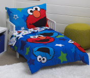Sesame Street Awesome Buds Elmo/Cookie Monster 4 Piece Toddler Bed Set, Blue/Red/Green