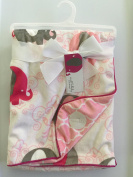 Sweet Lullaby Elephant Red/Pink/Grey Reversible Baby Blanket